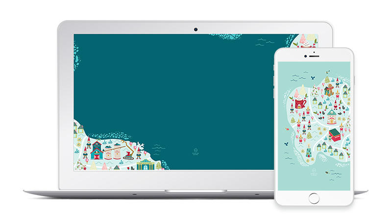 Free North Pole Map Christmas Desktop and Phone Wallpaper