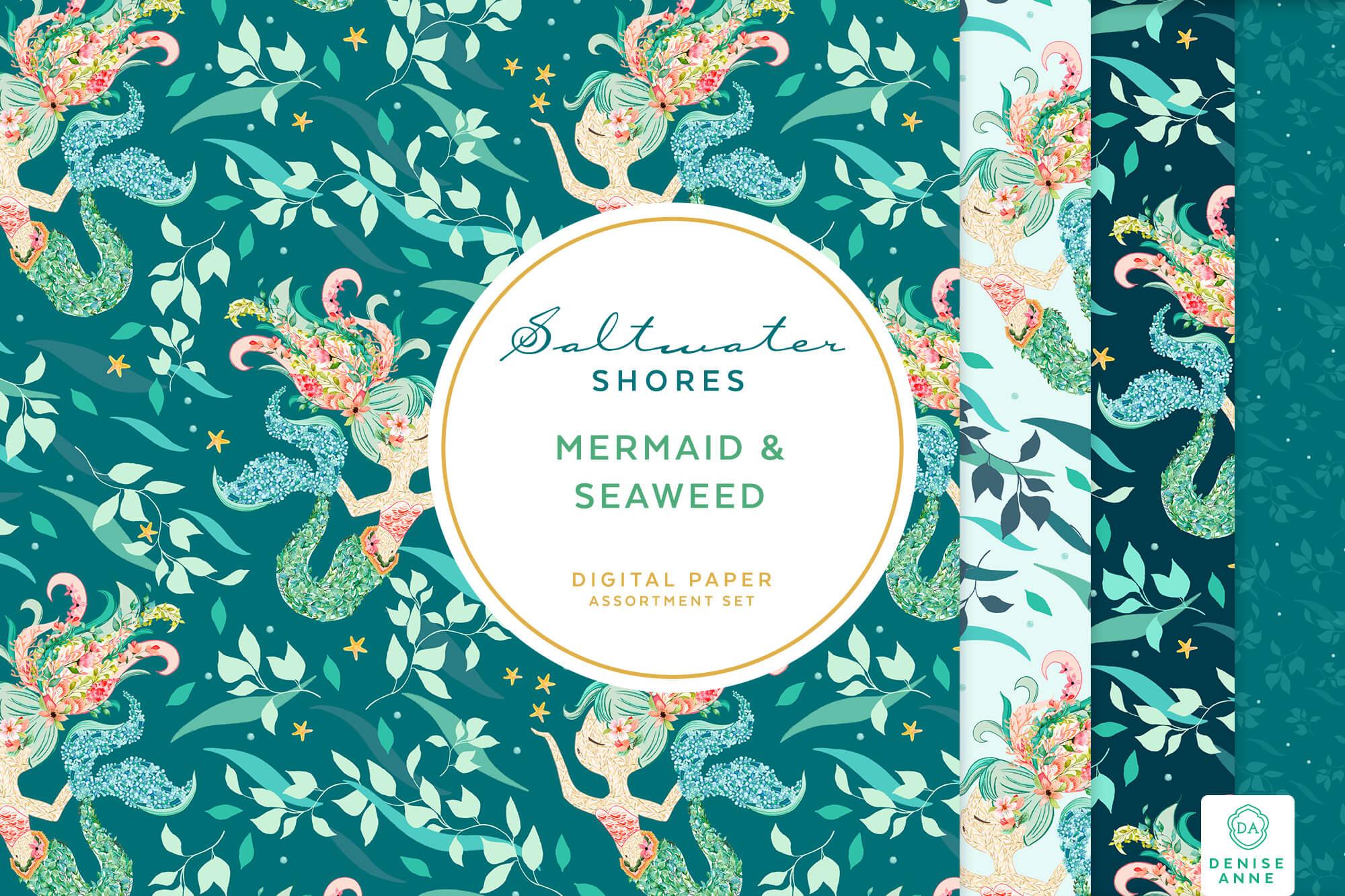 Mermaid Seaweed Leaves Digital Papers Set Denise Anne