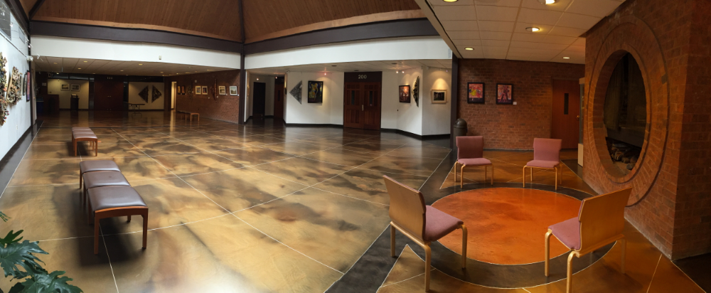 The Meeting House Atrium Gallery with art exhibit on display