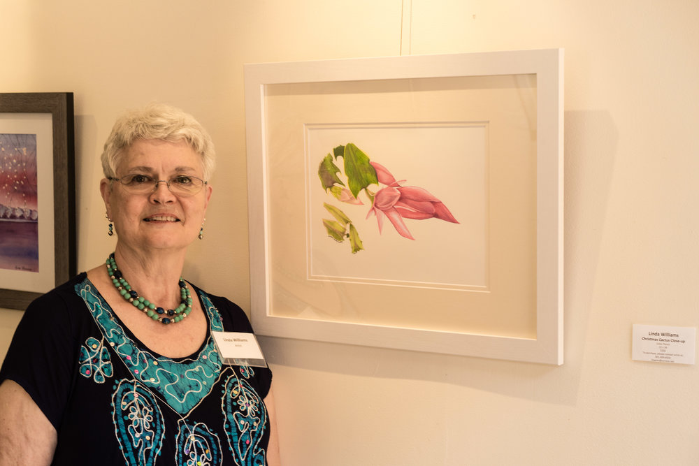 Linda Williams with her work