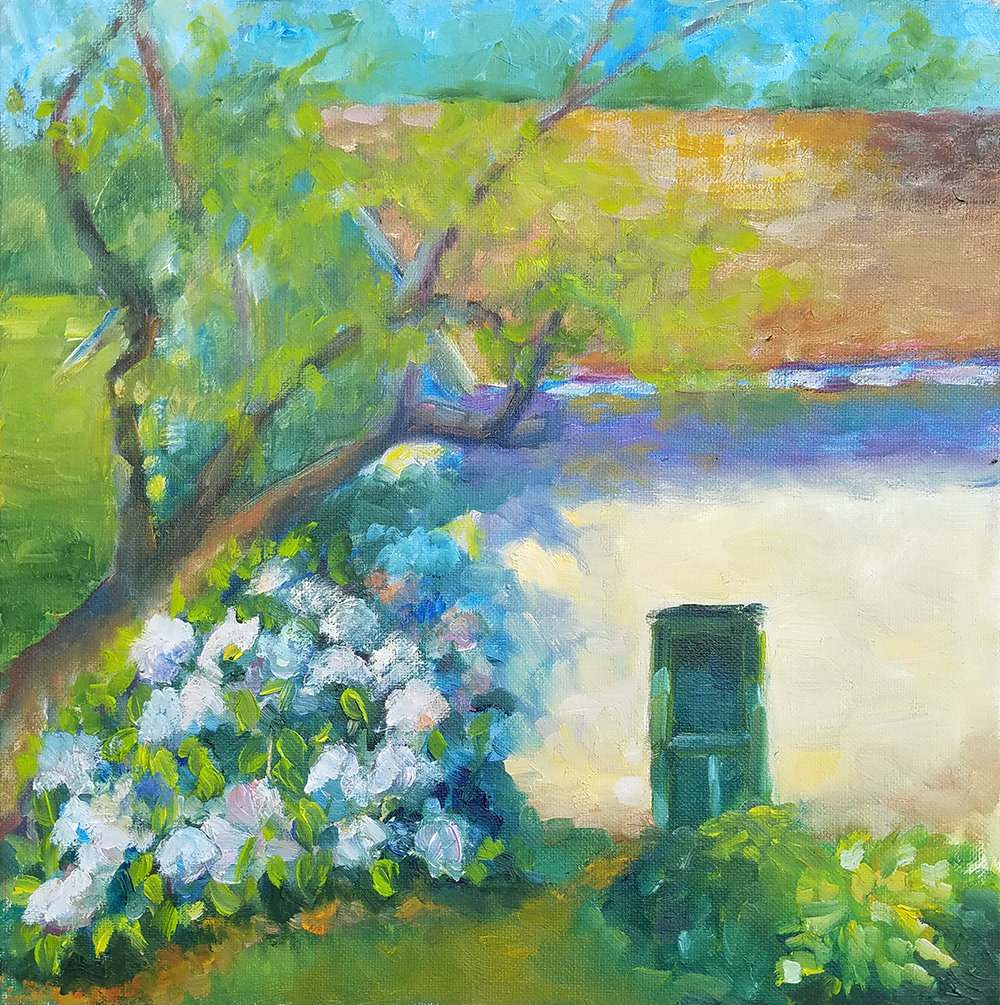 Hydrangeas And Hostas, M. Barrick