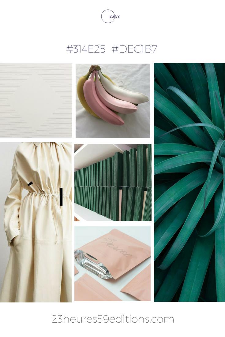 Mood-board recherche de coloris pour papeterie par 23heures59editions