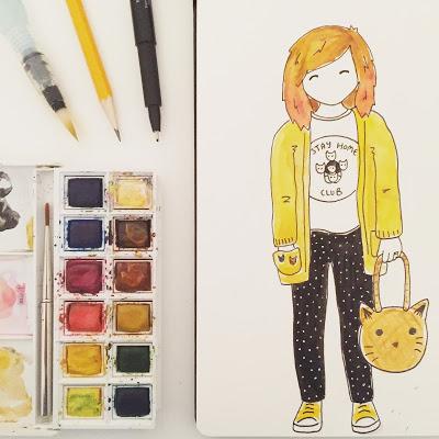 Cartoon style illustration of Jo Want, Hello Sunshine