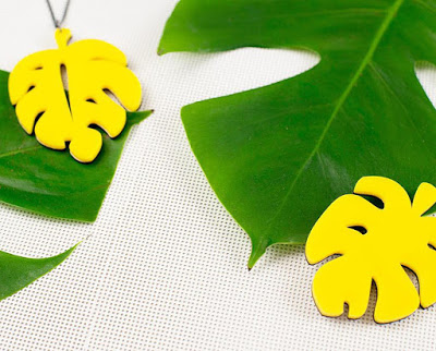 Cheese plant, Monstera laser cut acrylic jewellery