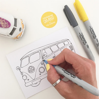 Colouring in pages for all ages based on illustrations of Campervans by Jo Want