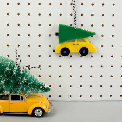 VW beetle inspired car and christmas tree, laser cut wood and acrylic jewellery