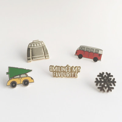 Christmas car, Snowflake, Jumper, Festive Van, and Elf enamel pins by Hello Sunshine