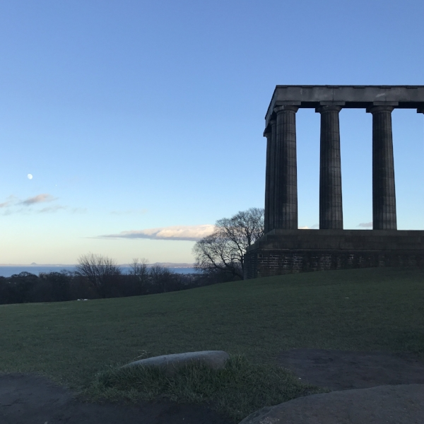 One of Calton Hill's many monuments, The National Monument of Scotland