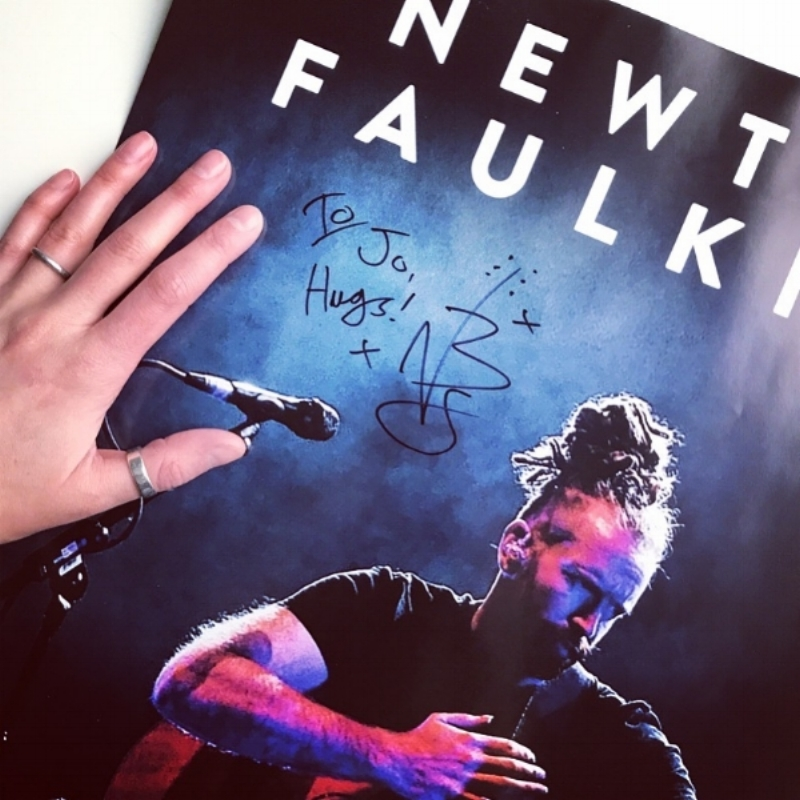 Surprise signed poster and HUGS from Newton Faulkner -Thanks to the wonderful  Mo !