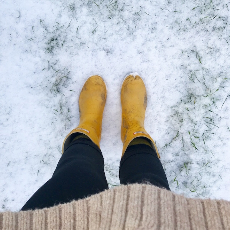 Snow time in my Yellow wellies as a reward for completing boring jobs.