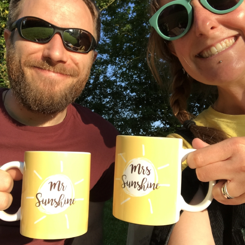 Mr & Mrs Sunshine mugs by  @thriftboxuk