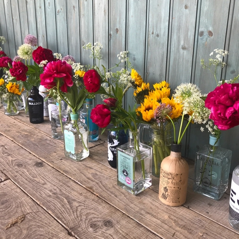 Dream team of Gin bottles,fun flowers and April's styling skills