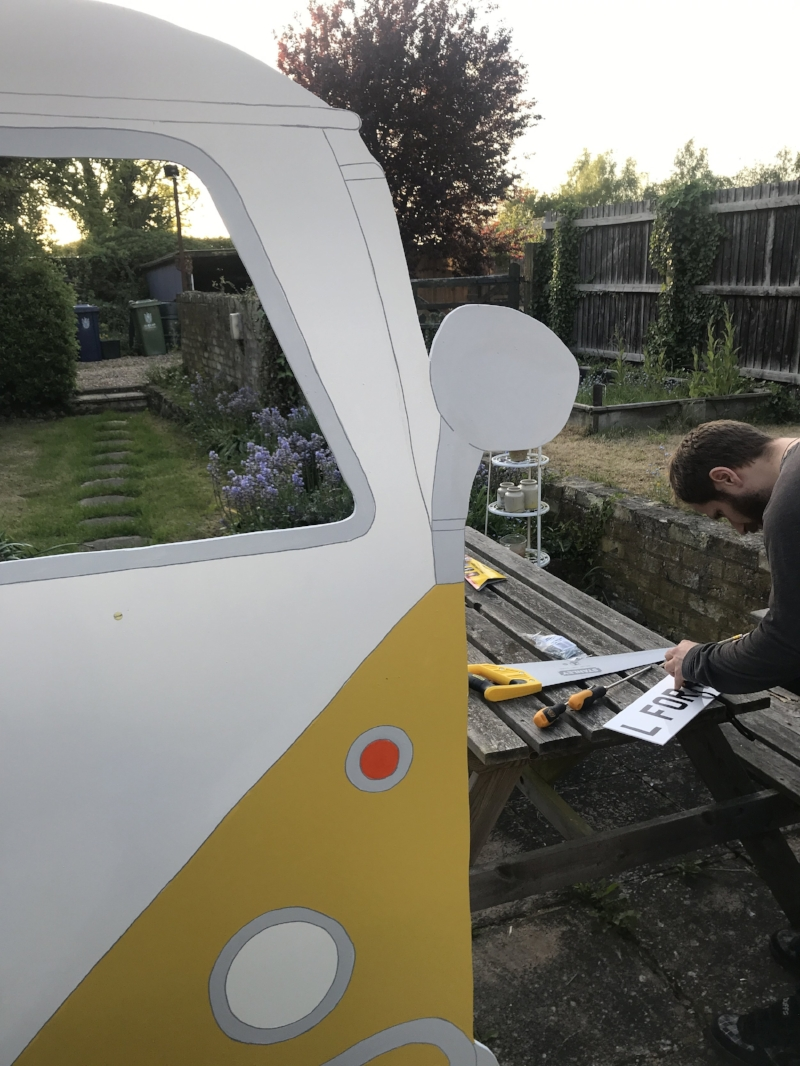 In the garden, building a van... as you do!