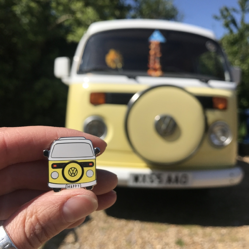 Colin the Camper, inspired our enamel pin wedding favours!
