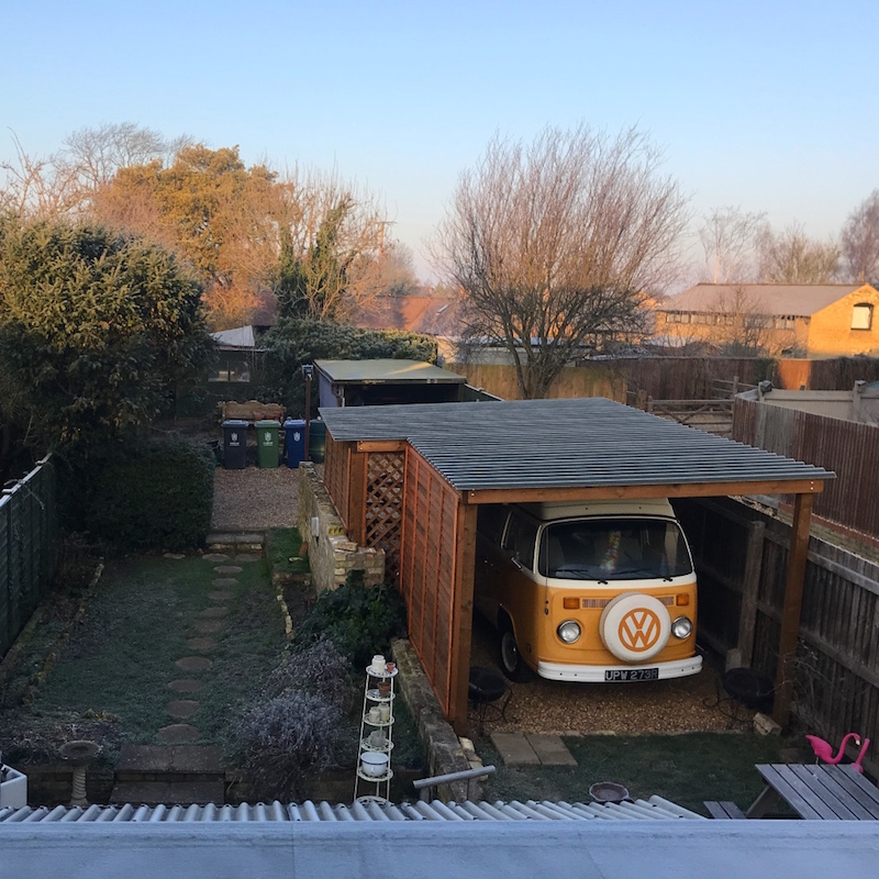 Frosty mornings overlooking Buddy's newly painted shed ❄️