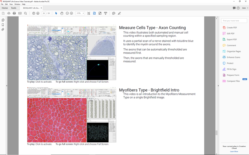 BIOQUANT documentation is written in PDF format with embedded video tutorials.
