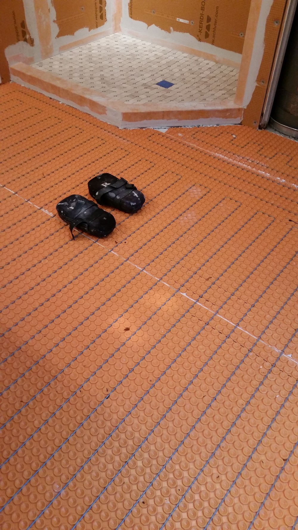 A tileguys journey hamilton tile another heated floor system ditra heat with a properly prepped shower in the background dailygadgetfo Images