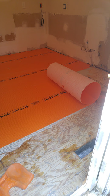 Ditra takes the place of cement board on flooring jobs in our world. We use  ditra  when we're putting tile on plywood. Cement board for this application is antiquated.