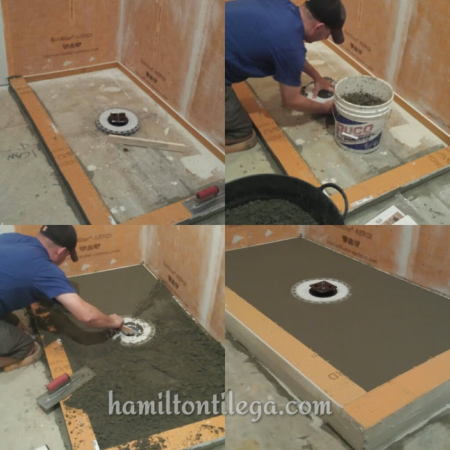 This is a custom shower pan and it's the foundation of a shower. We are well versed in this technique. We install  waterproofing membrane  into a bed of thinset after all this cures.
