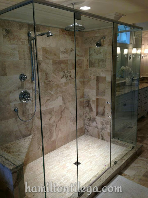 """""""Hamilton Tile did an excellent job on our master bathroom -- new shower, heated floors, toilets, and tub surround. We had a shower leak and searched for a company that could do it right. They went above and beyond every step of the way -- even doing a leak test pre-tile.  They were friendly, professional, and we will use them again for any future projects."""""""