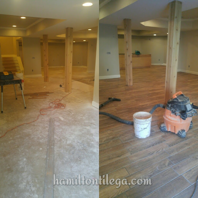 """This floor was in Cumming, GA over the winter as well. This is 6"""" X24"""" wood plank porcelain tile. We get asked if this flooring is a fad and we always say 'no' because the product looks like real wood but it has the maintenance free characteristics of tile. This is a Life-Proof floor!"""