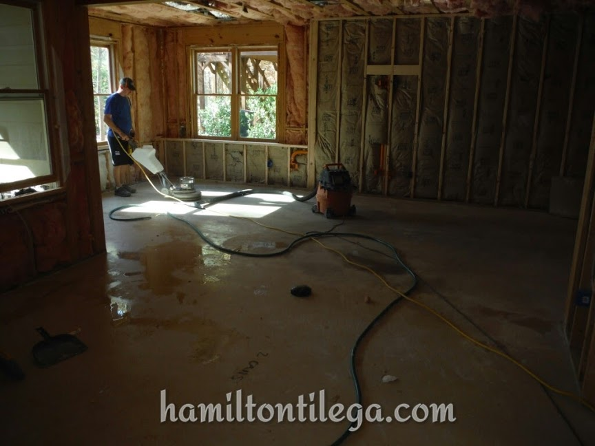 Here's something I know sets us apart. We GRIND our floors to get a clean, bare concrete foundation to set our tile. We know how important it is to have a clean surface and we always have grinding in our bids.