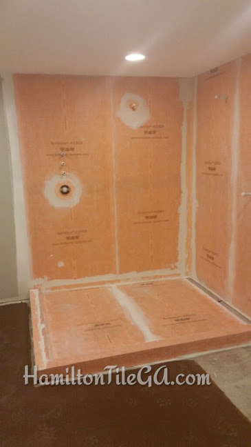 A prepped shower fit for a king with a  linear drain . This moisture management system will ensure a long term shower installation and isn't that why you ultimately chose tile, So you NEVER have to mess with it again?