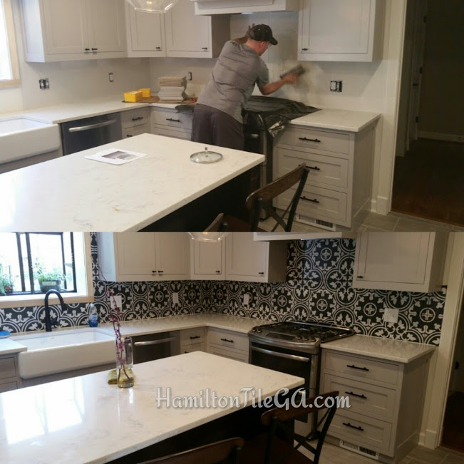 A before and after collage with Jason hard at work and Ben on photography detail! Does that Ben guy ever WORK?