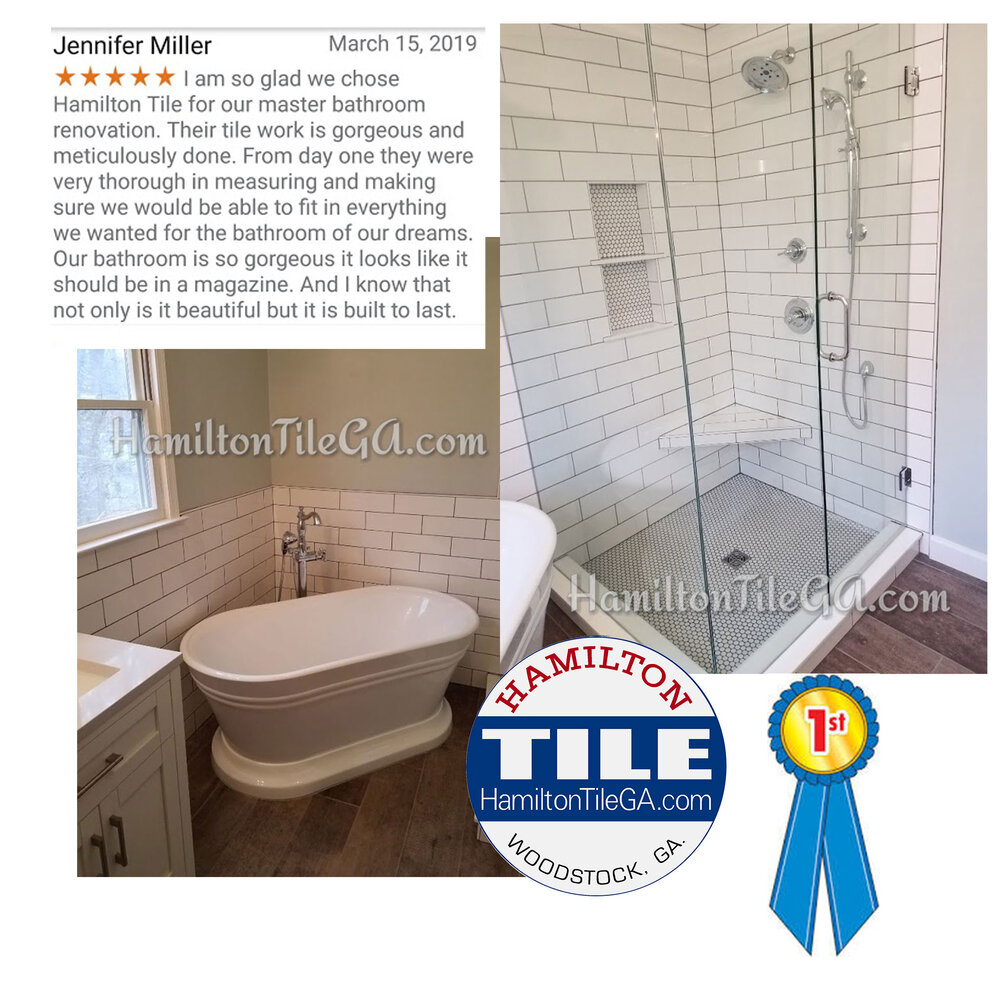 An advantage of using Hamilton Tile for your next bathroom remodel: transparent, responsive communication with reputable, established craftsmen.    Click here to see the handy overview of this project.