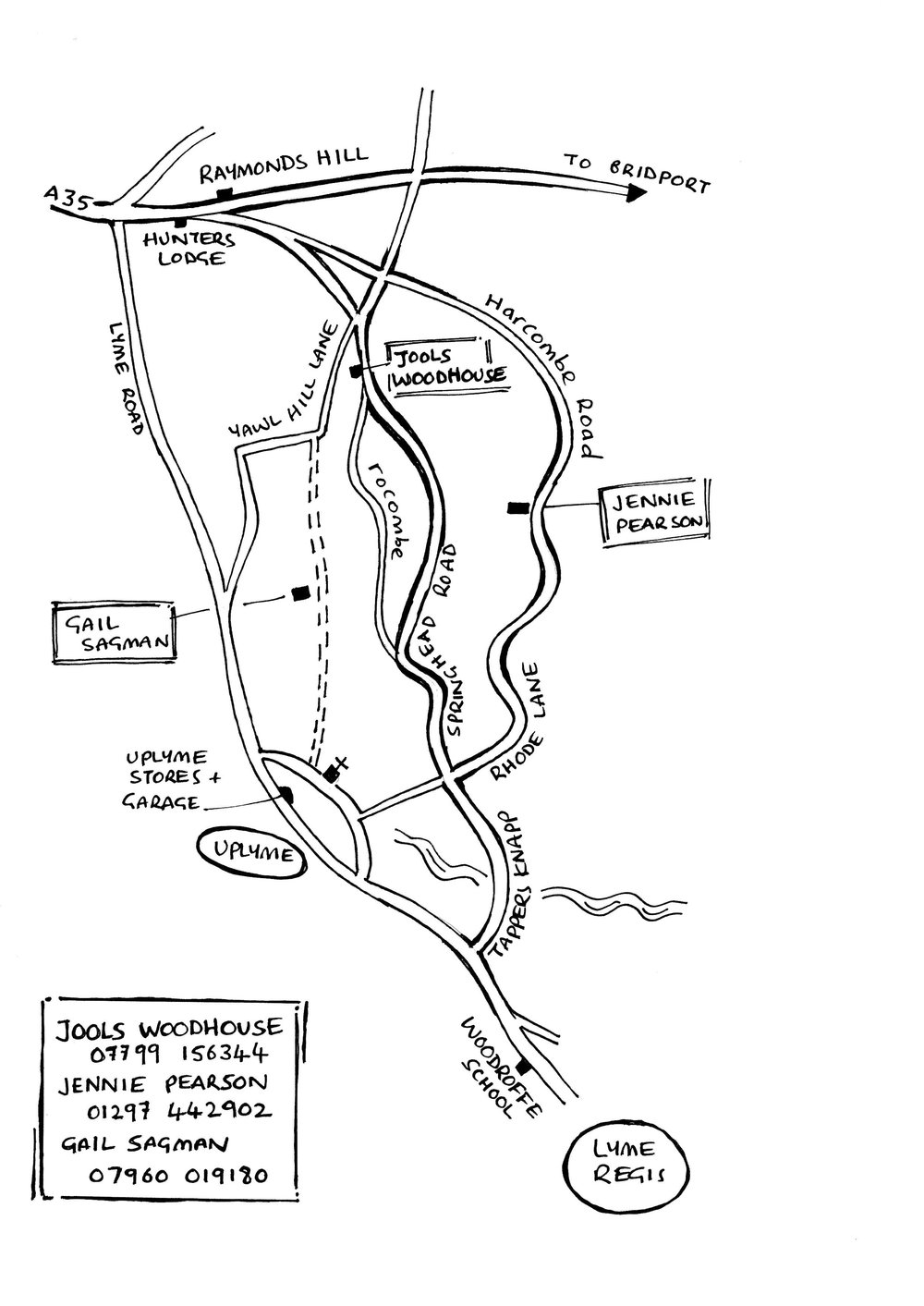 Directions to the 3 OPEN STUDIOS in Uplyme, Rocombe and Harcombe.