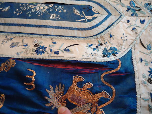 The silk panel - showing how the fabric was falling apart.