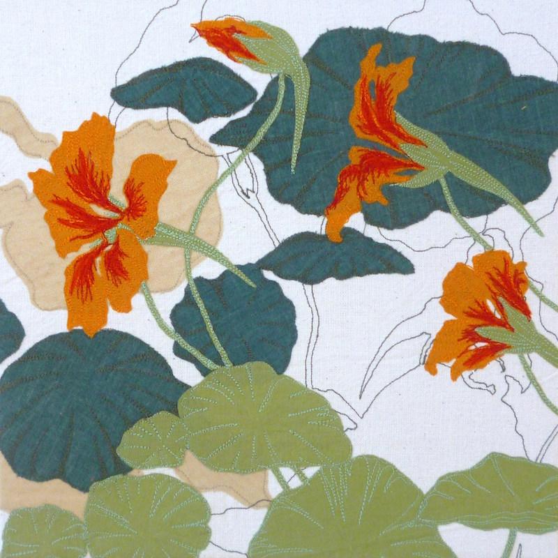 Helen Poremba Textile Artist - Flat Cat Gallery Exhibition - Nastursium
