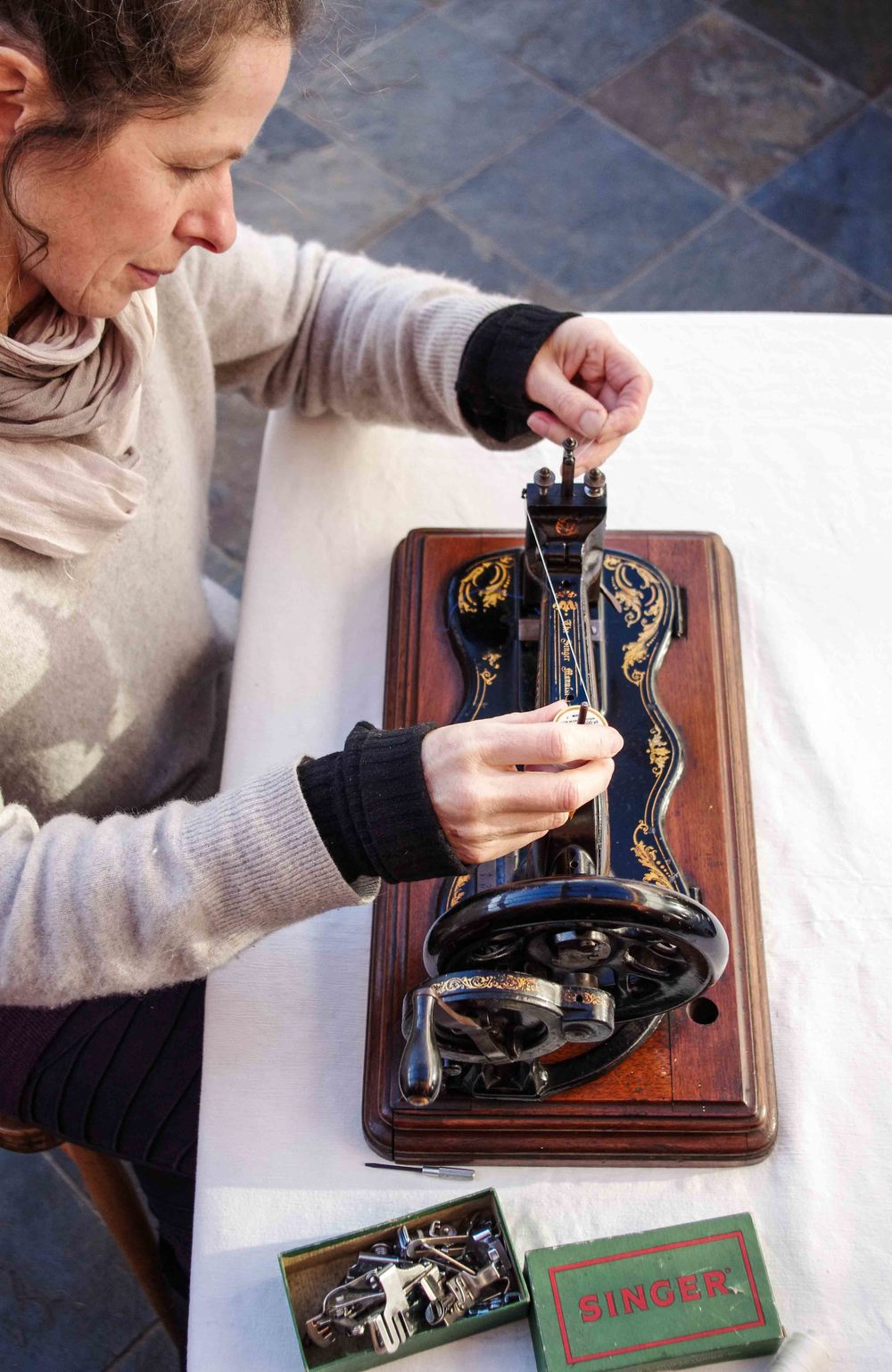Helen Poremba Textile Artist using her vintage sewing machine