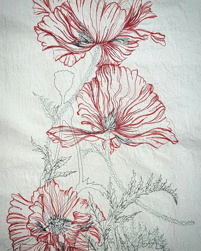 The reverse side #theflipside #juststitched #redthread #threaddrawing