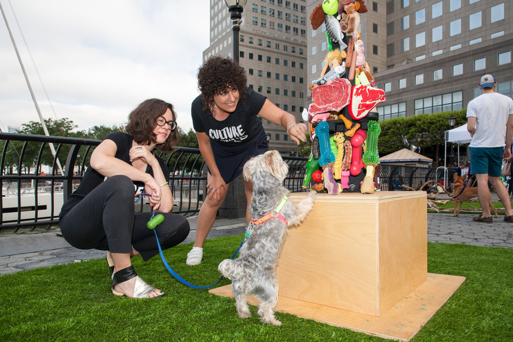 "dOGUMENTA team with ""Any Dog Can Be A Guide Dog If You Don't Care Where You're Going"" by Tibi Tibi Neuspiel at Brookfield Place in New York City."