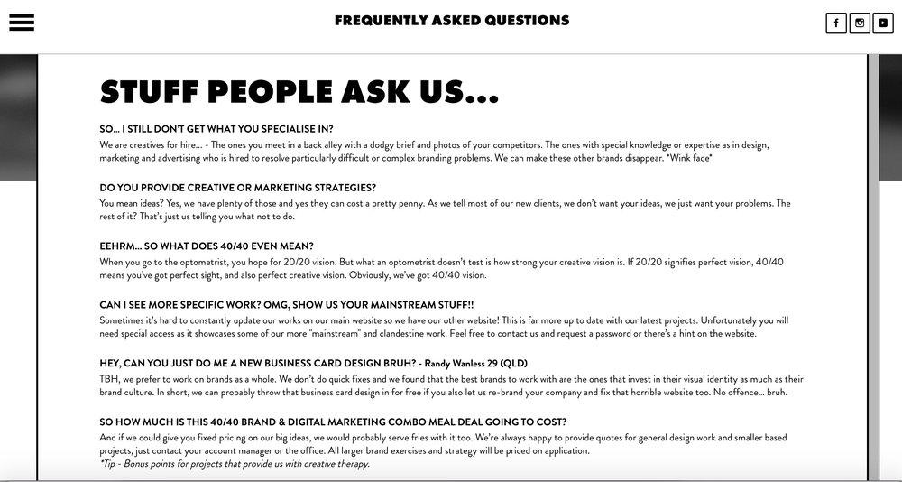 Australian Creative Agency 40/40 Creative's awesome FAQ Page.