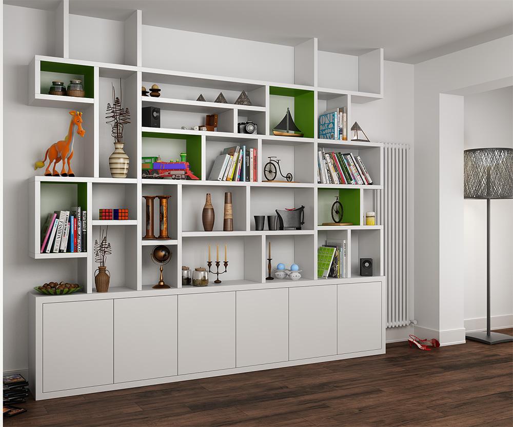 Custom-built shelving and under-shelving storage for lounge/diner, London