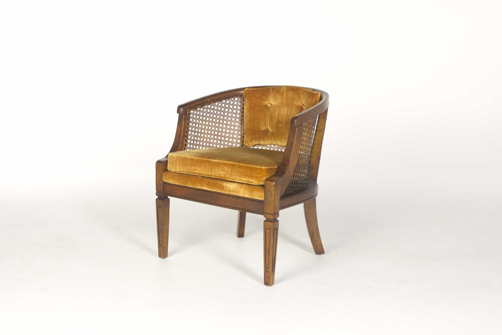 CANE BACK BARREL CHAIR