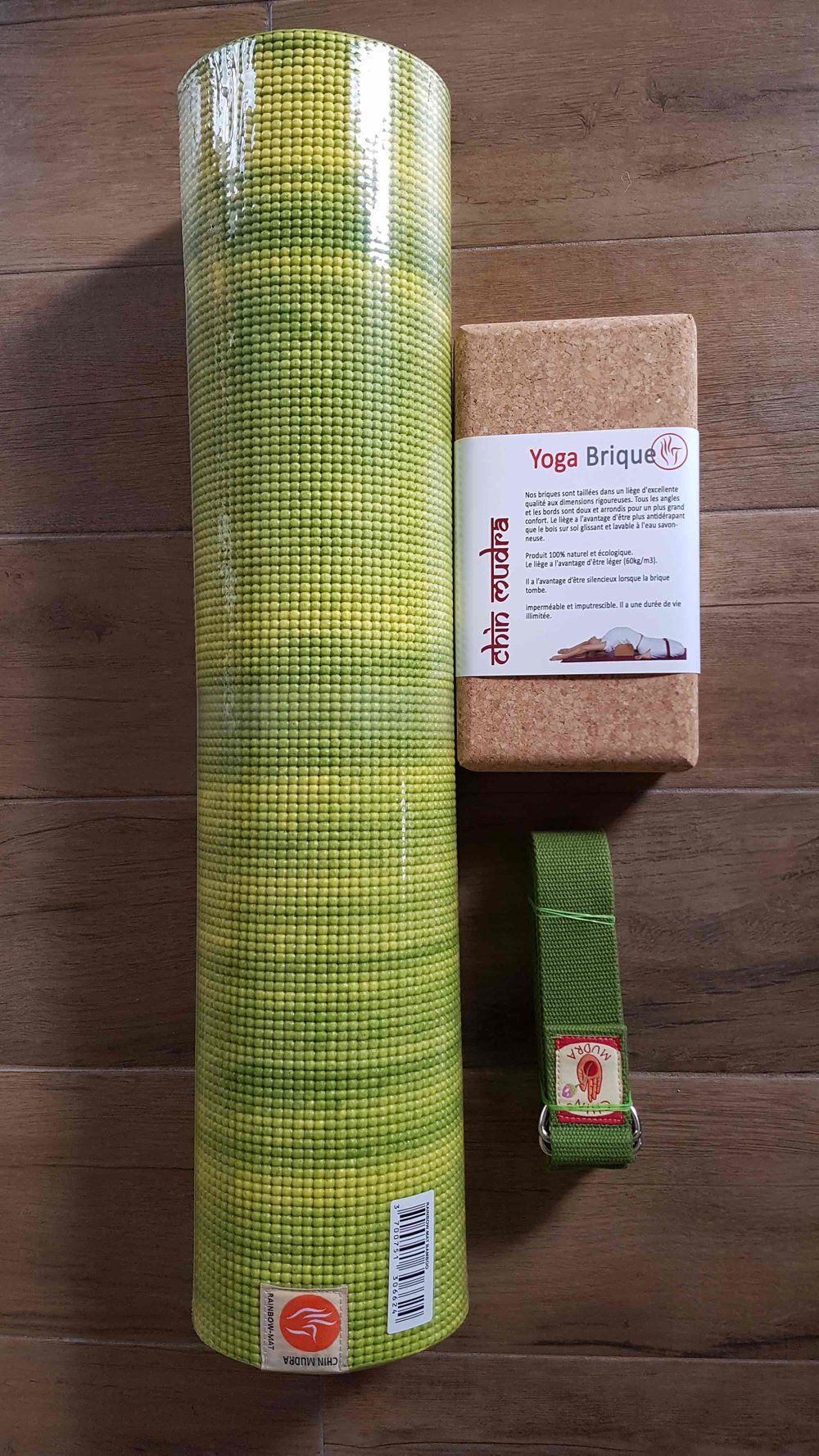 Kit Bois vert - 1 tapis vert citron + 1 sangle verte + 1 bloc liège : 59€TTC