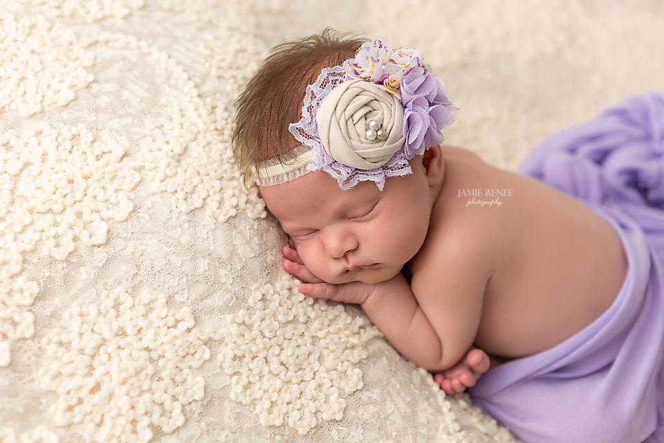 Posed baby girl image cream and purple newborn photos ideas birdie baby boutique headband