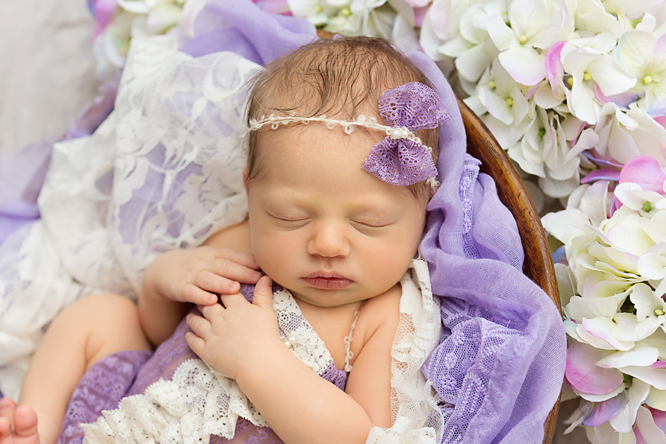 Baby girl purple romper cream and lavender newborn photo newborn photo with flowers