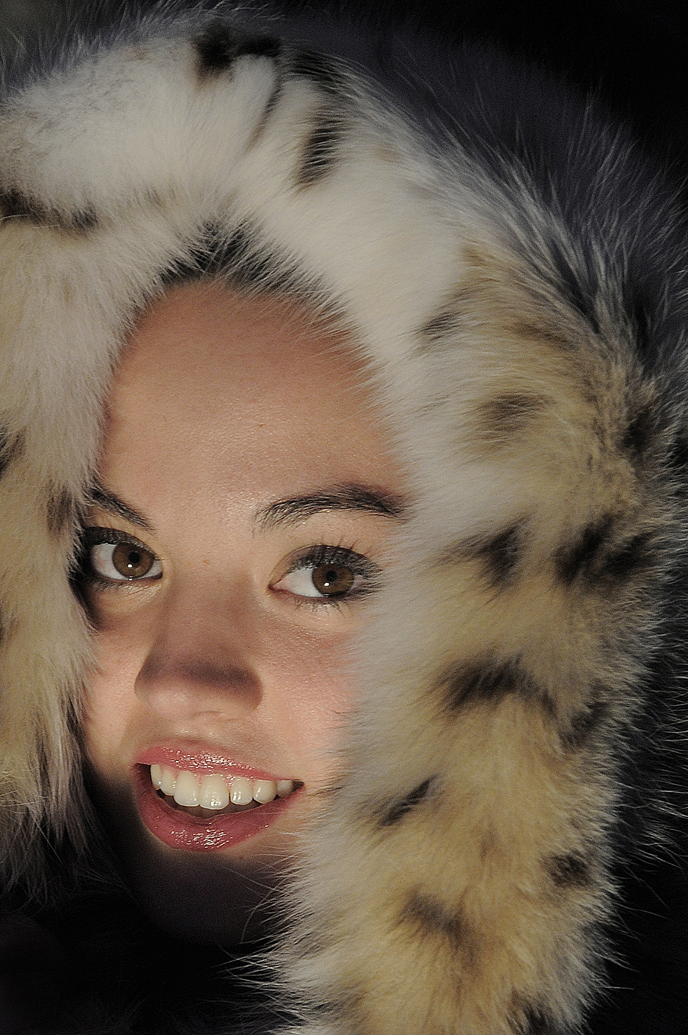 Model in Faux Fur