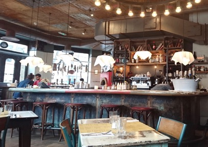 Love the rustic interior of  Polpo , a venetian Tapas bar in Soho, London.