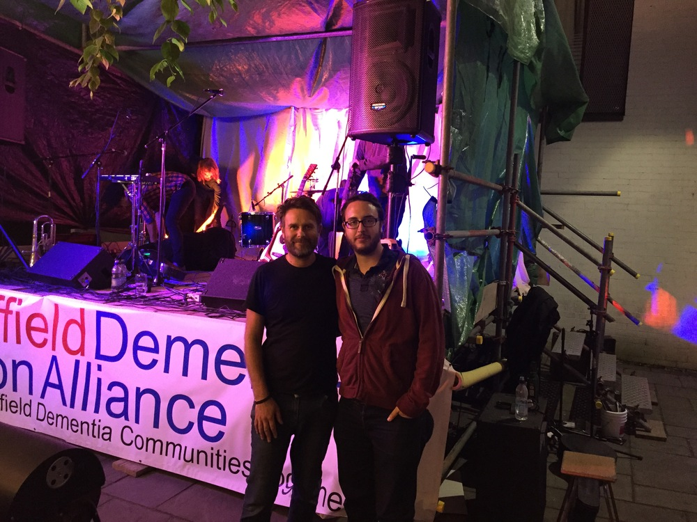 Lee and Andrew at the Sheffield Dementia Action Alliance stage, set up, organised and curated by Lee, as part of the Tramlines Festival, Sheffield, 2015. This stage was made possible by Postcode Community Trust
