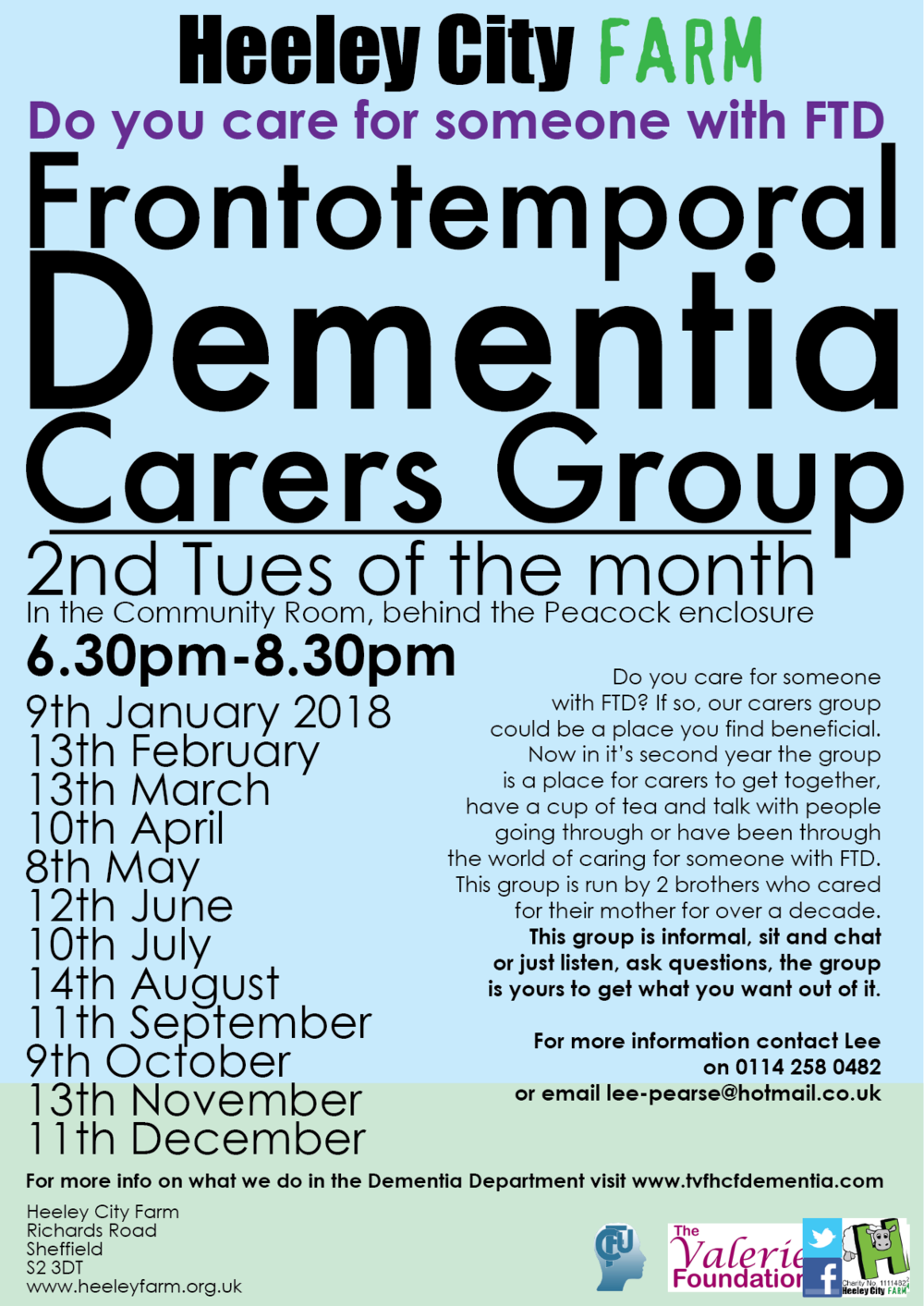 After the success of the first Frontotemporal Dementia Carers Group there are another four dates set for the upcoming months. Open to anyone who cares for someone with FTD, come to sit and chat or just listen to other carers