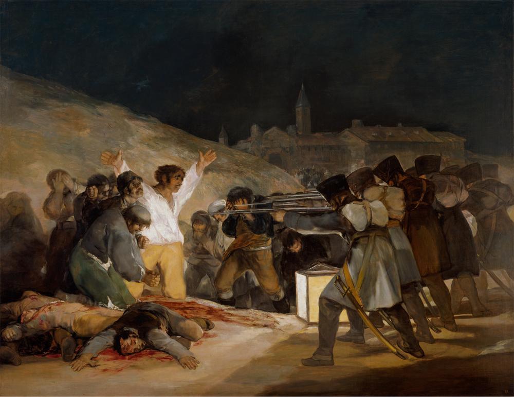 """FRANCISCO DE GOYA Y LUCIENTES   3 de mayo en Madrid o """"Los fusilamientos"""", 1814, Óleo sobre tela, 268 x 347, Museo del Prado, Madrid"""