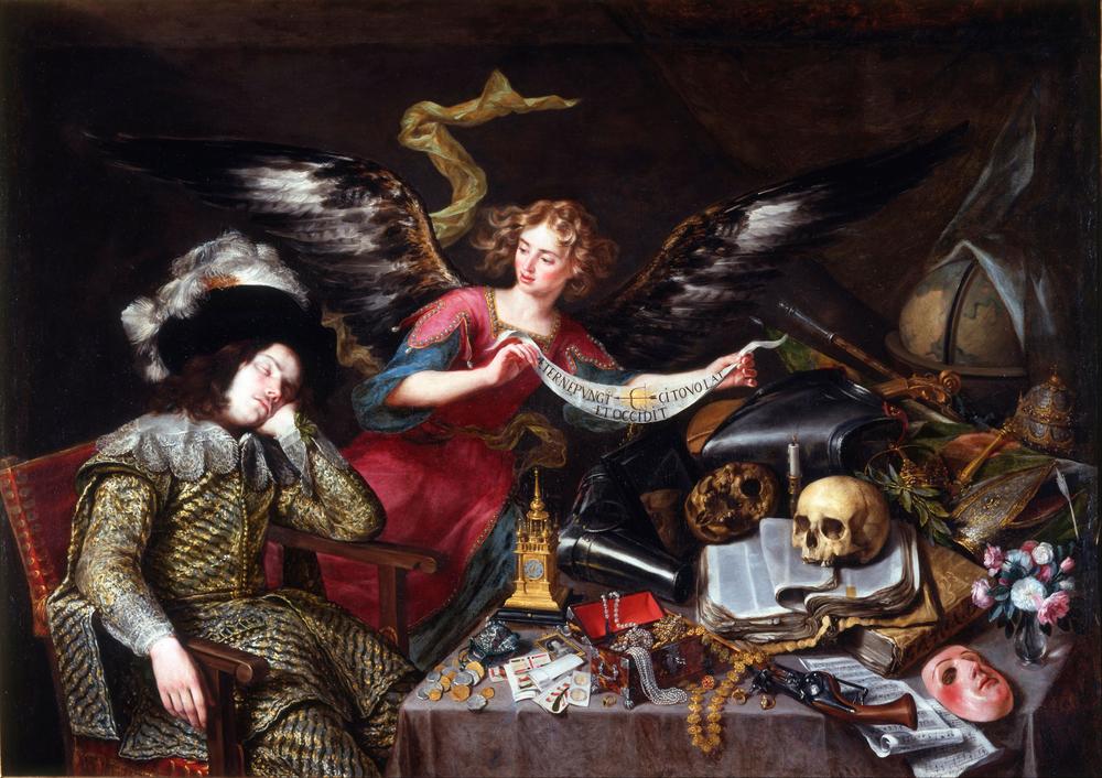 ANTONIO DE PEREDA (1611-1678)   El sueño del caballero, hacia 1655, Óleo sobre lienzo, 152 x 217, Real Academia de Bellas Artes de San Fernando, Madrid