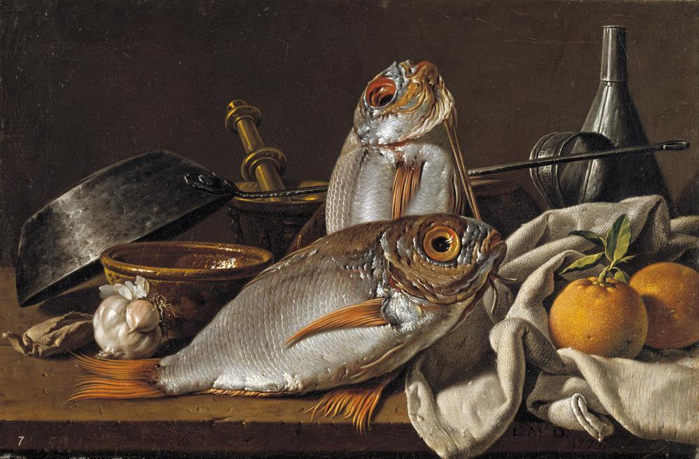LUIS EGIDIO MELÉNDEZ (1716-1780)   Bodegón con besugos, naranjas, ajo, condimentos y utensilios de cocina, 1772, Óleo sobre lienzo, 42 x 62.2, Museo Nacional del Prado, Madrid