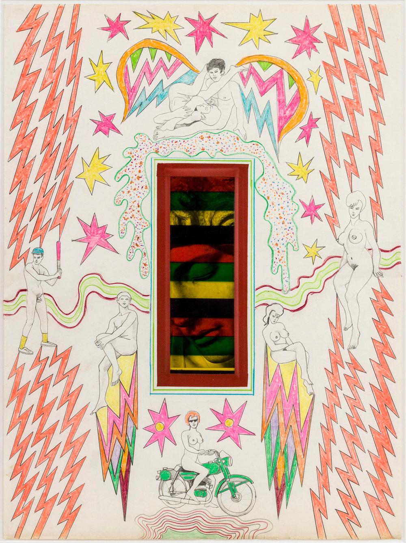 ROBERT SMITHSON  ( 1 9 3 8 - 1 9 7 3 ) , Untitled [Classical head], 1963, técnica mixta con collage sobre papel, 76.2 x 55.88, cortesía de James Cohan Gallery, Nueva York y Shanghai, © Holt-Smithson Foundation/ Licencia de VAGA, New York