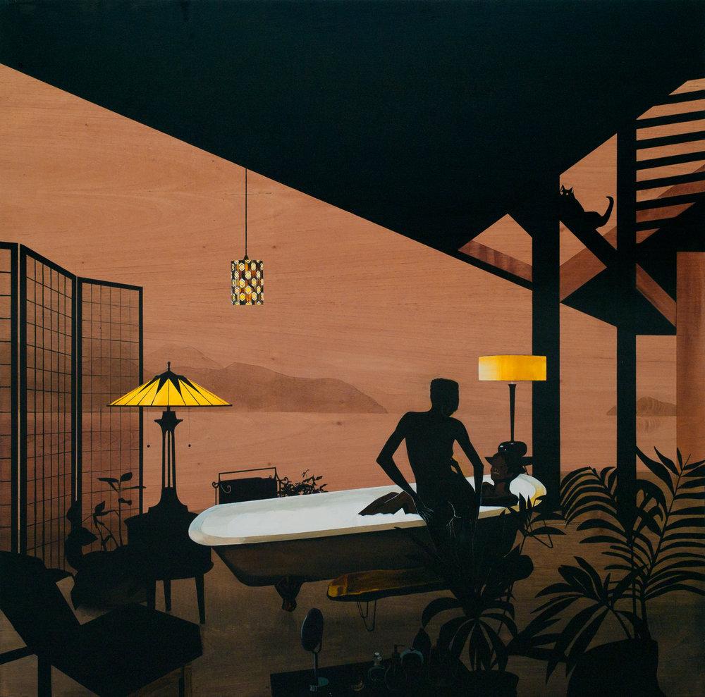 HULDA GUZMÁN  (1984), Anne in her bath, 2013, acrílico sobre madera de cedro, 120x 120, cortesía de la artista